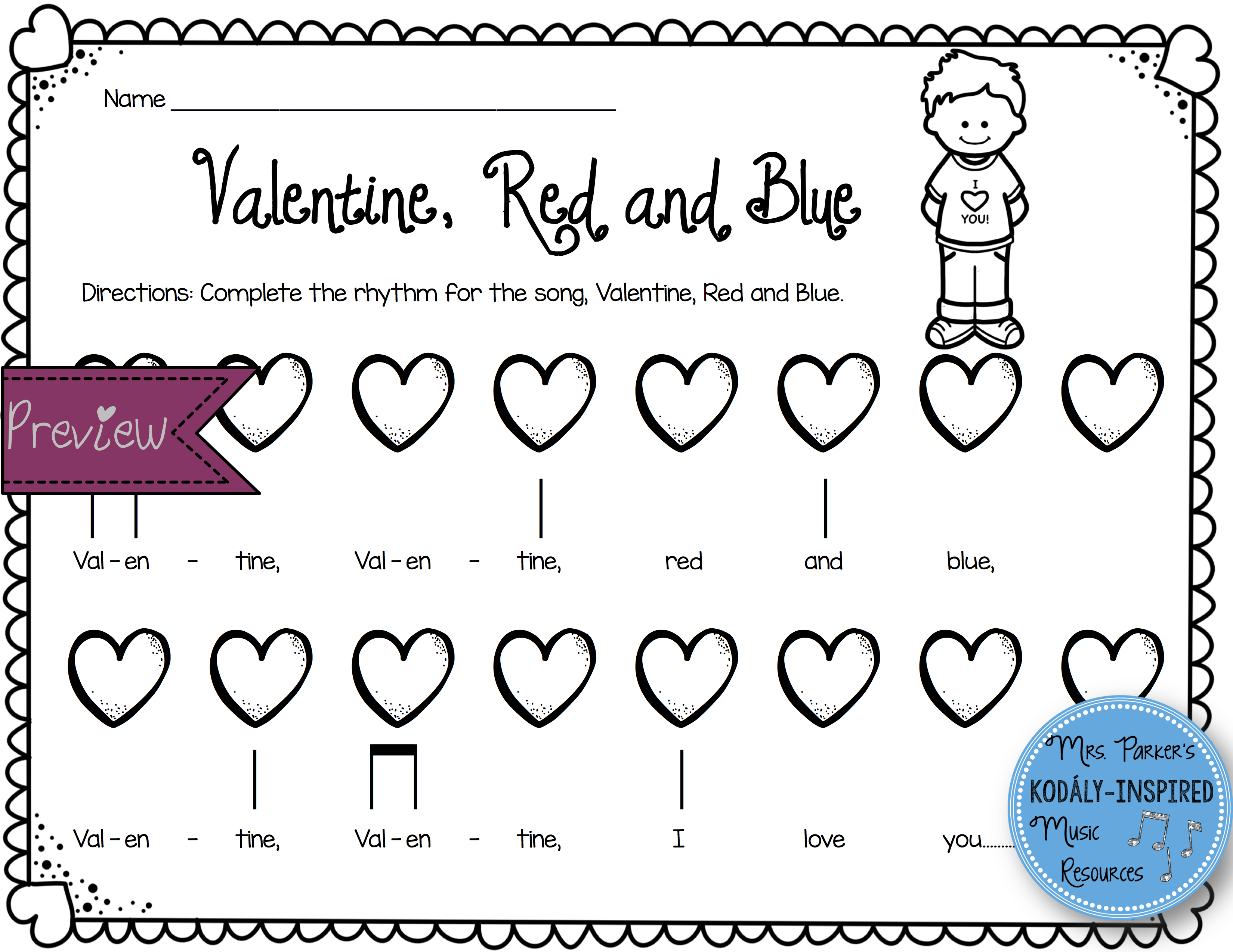 Valentine Rhythm And Melody Worksheets
