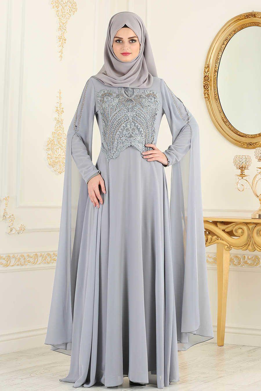 0349b18a1116 Neva Style - Grey Hijab Evening Dress 25697GR   Hijab fashion ...