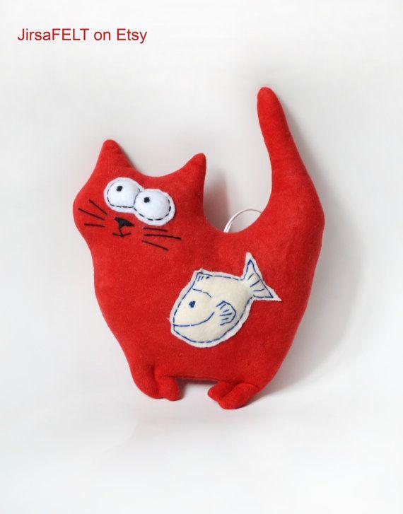 Plush Cat Toy Stuffed Red Cat Fish Soft Toy Kitten Handmade Soft