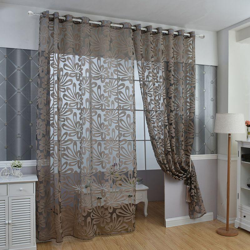 Diseo Floral azul cortina de tul pura telas cortinas para la