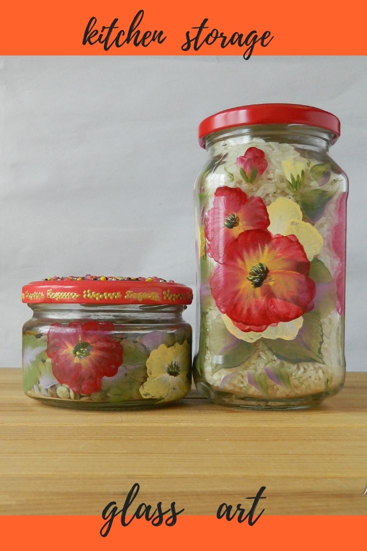 Gl Jars With Lid For Your Kitchen Storage Bright Canisters Hand Painted Red Food Containers Fl Decoration Are Beautiful And