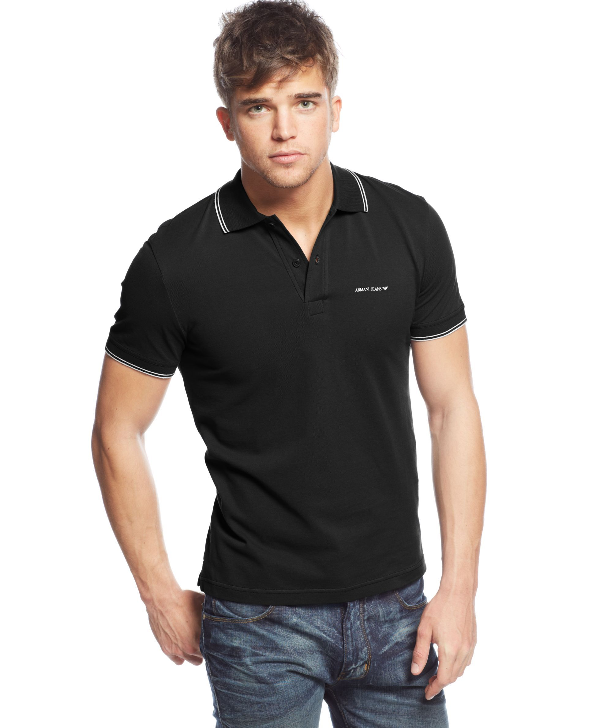 Armani jeans tipped polo with images armani jeans men