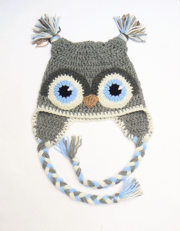 Cute crochet gorro de buho para niños, adolescentes, mujeres. Color ...