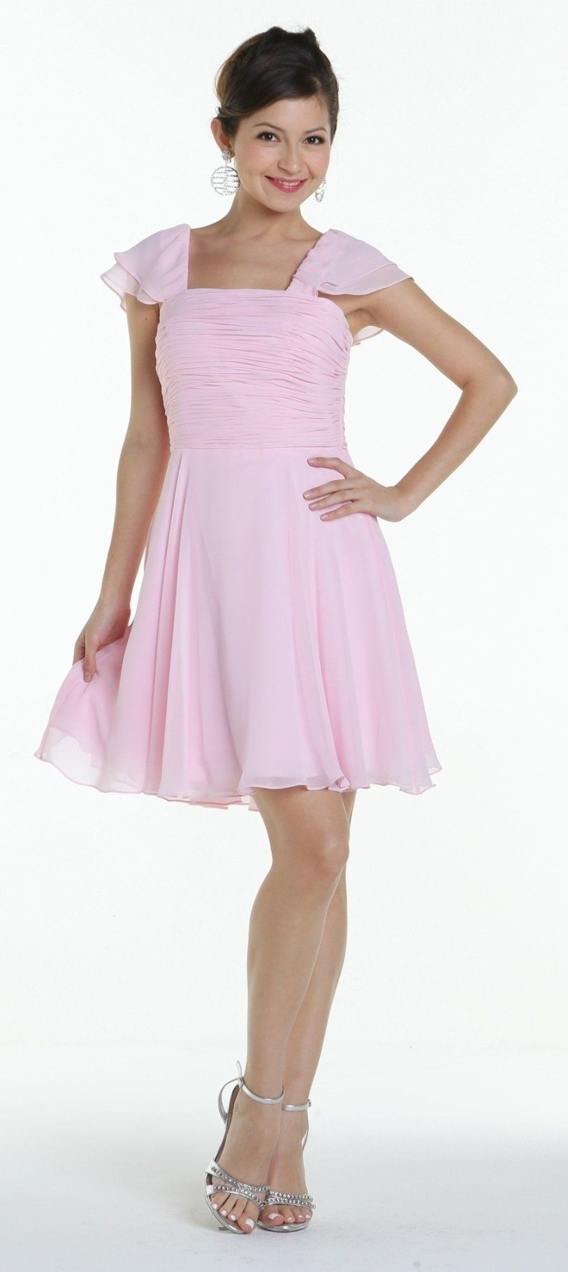 On special limited stock short sleeve pink bridesmaid dress knee