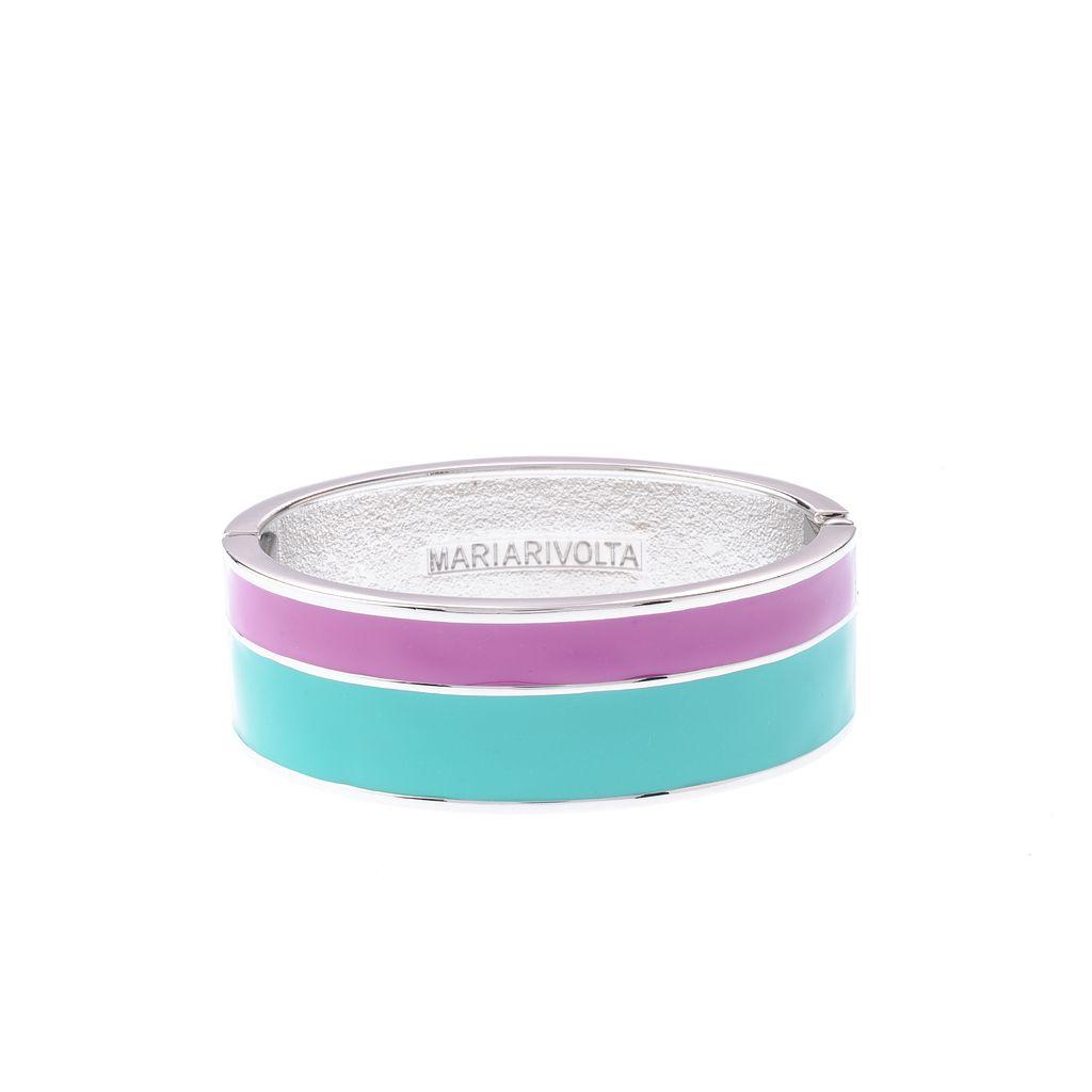 Este brazalete rígido posee un dibujo de dos líneas esmaltadas en siete combinaciones de colores diferentes: turqueza y azul; violeta y p&uacut...