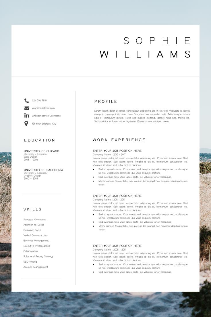 Resume Template Cv Template Med Billeder Kreativt Cv Cv Skabelon Layout