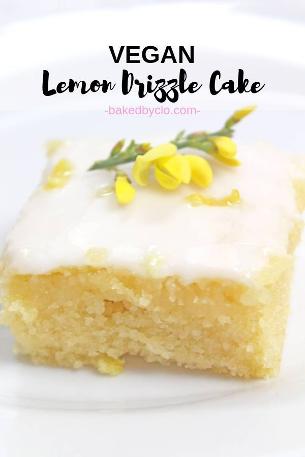 Moist lemon cake with drizzle and lemon frosting! Made as a traybake, it's the perfect vegan dessert recipe if you're baking for a crowd! #veganlemond...