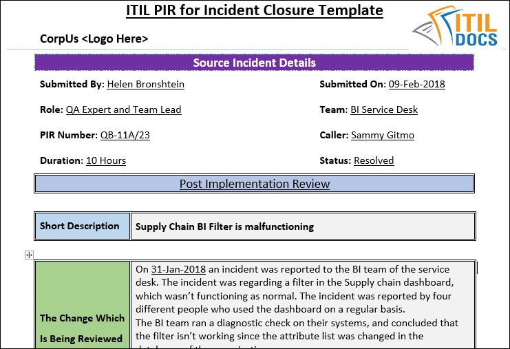 Itil Templates Report Template Project Management Templates Incident Report