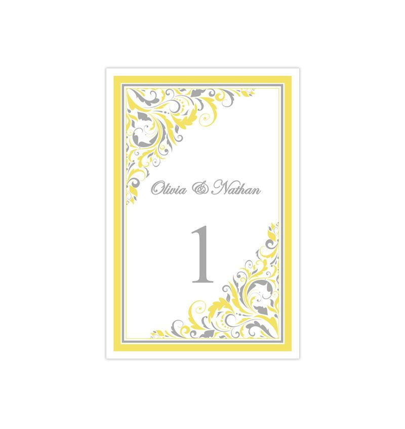 Wedding Table Number Template Brooklyn Yellow Gray Flat Wedding Table Numbers Template Wedding Table Numbers Wedding Table Number Cards