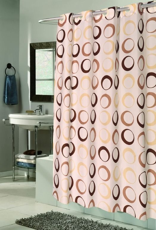 elegant Design Brown Circles Fabric Shower curtain w/ Built in Flat ...