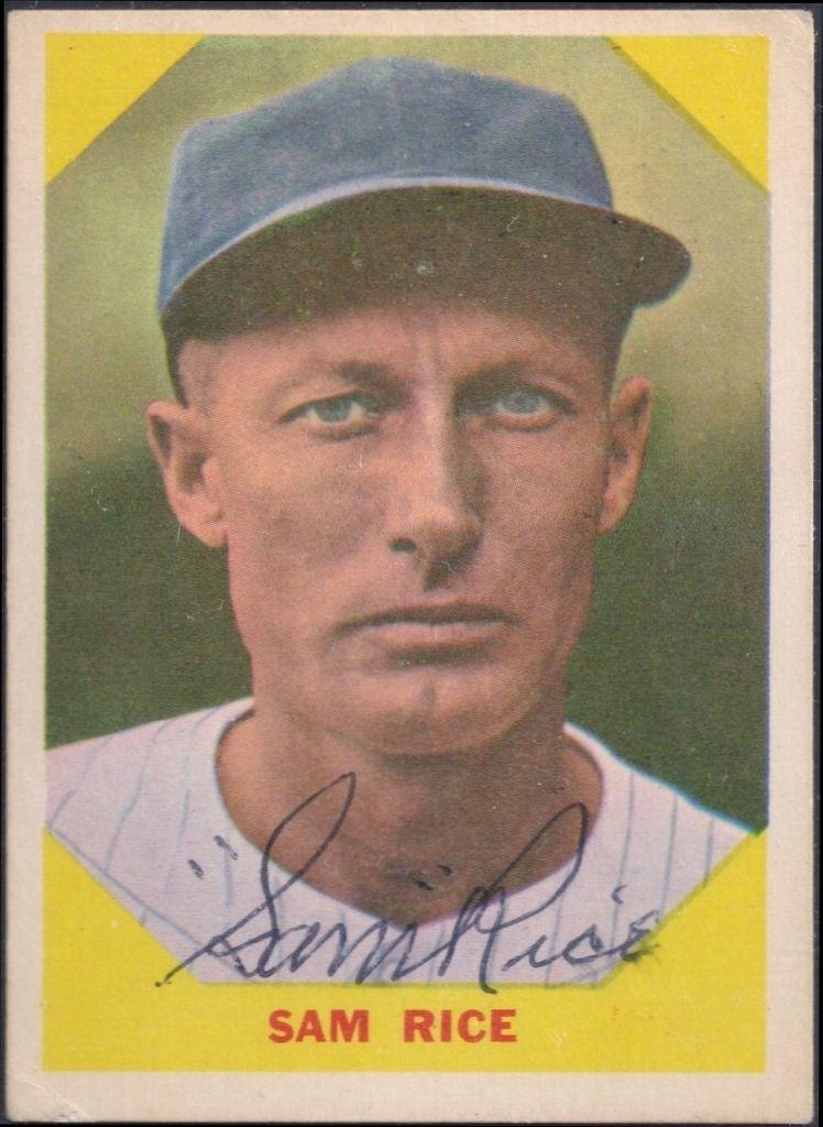 1960 fleer sam rice autograph baseball cards
