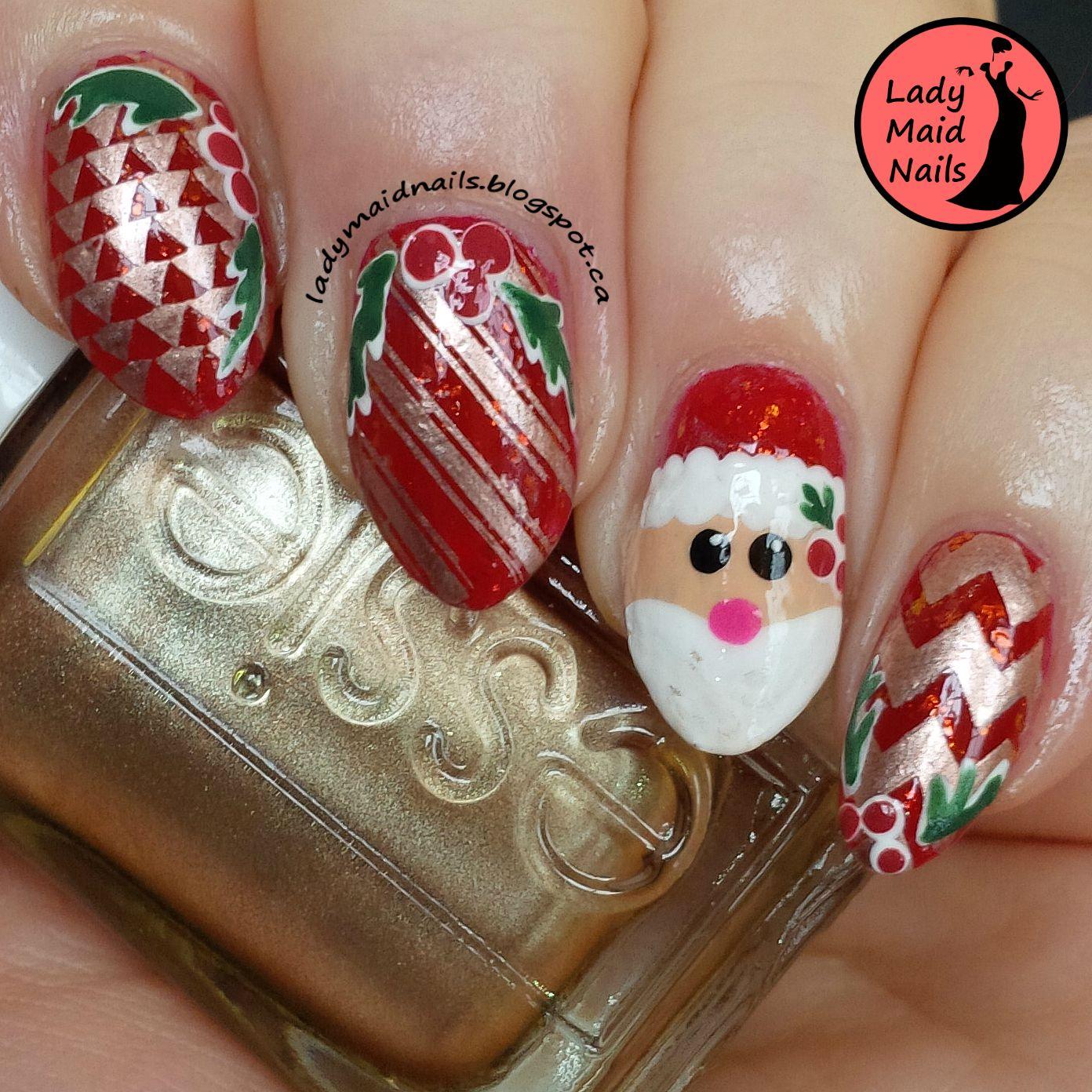 Lady Maid Nails Santa Nail Art  My Nail Art  Pinterest