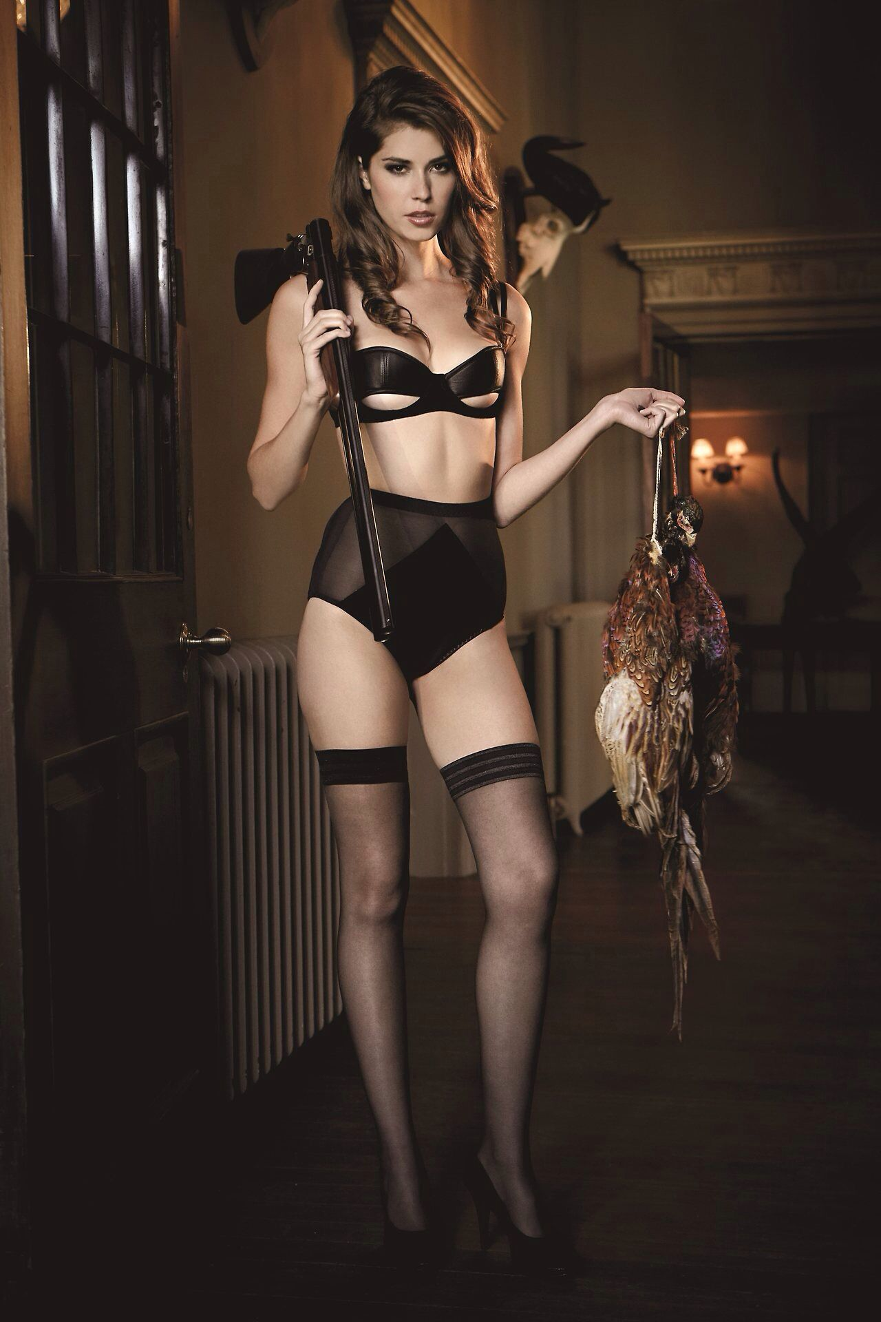 7c9a047824 Pinup Model   Pose   Weapon   Object Nylon Stockings