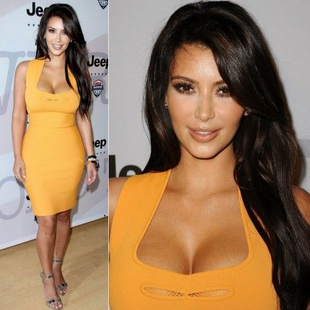 Kim Kardashian Orange Bandage Dress | Kim Kardashian Collection ...