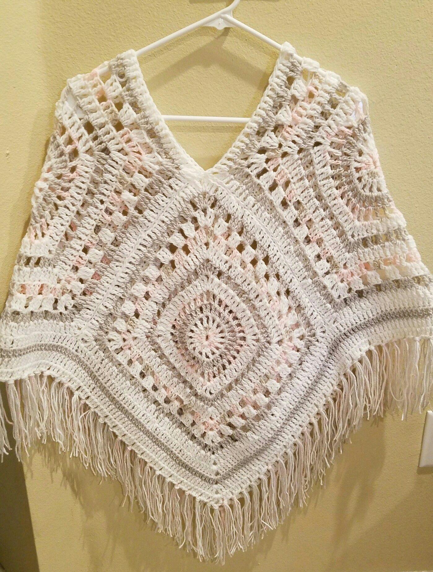Crochet poncho granny square | ÖRGÜLER 1 | Pinterest | Remedios ...