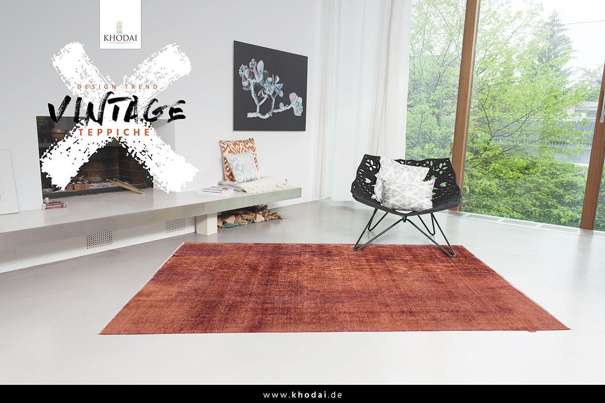 Vintage Wohnzimmer Teppich Braun Orange| Vintage Carpets   Antik Style  KHODAI   Handmade Carpets