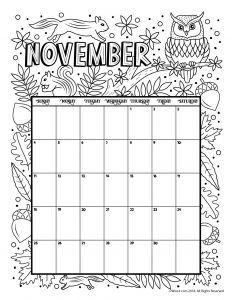 november 2018 coloring calendar page