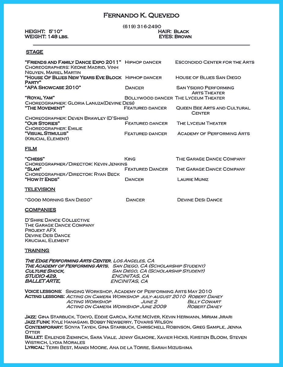Cool The Best And Impressive Dance Resume Examples Collections
