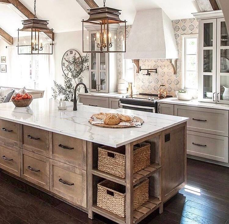 Decorating Kitchen Cabinet Tops: Rustic Italian Accents. Great Cabinet Color + Countertops
