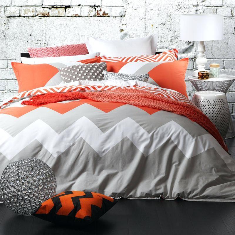Logan Mason Marley Tangerine Chevron King Size Doona Duvet Quilt Cover Set New Double Bed Linen Australia Buy Double Quilt Cover Sets Quilt Cover Bedding Sets