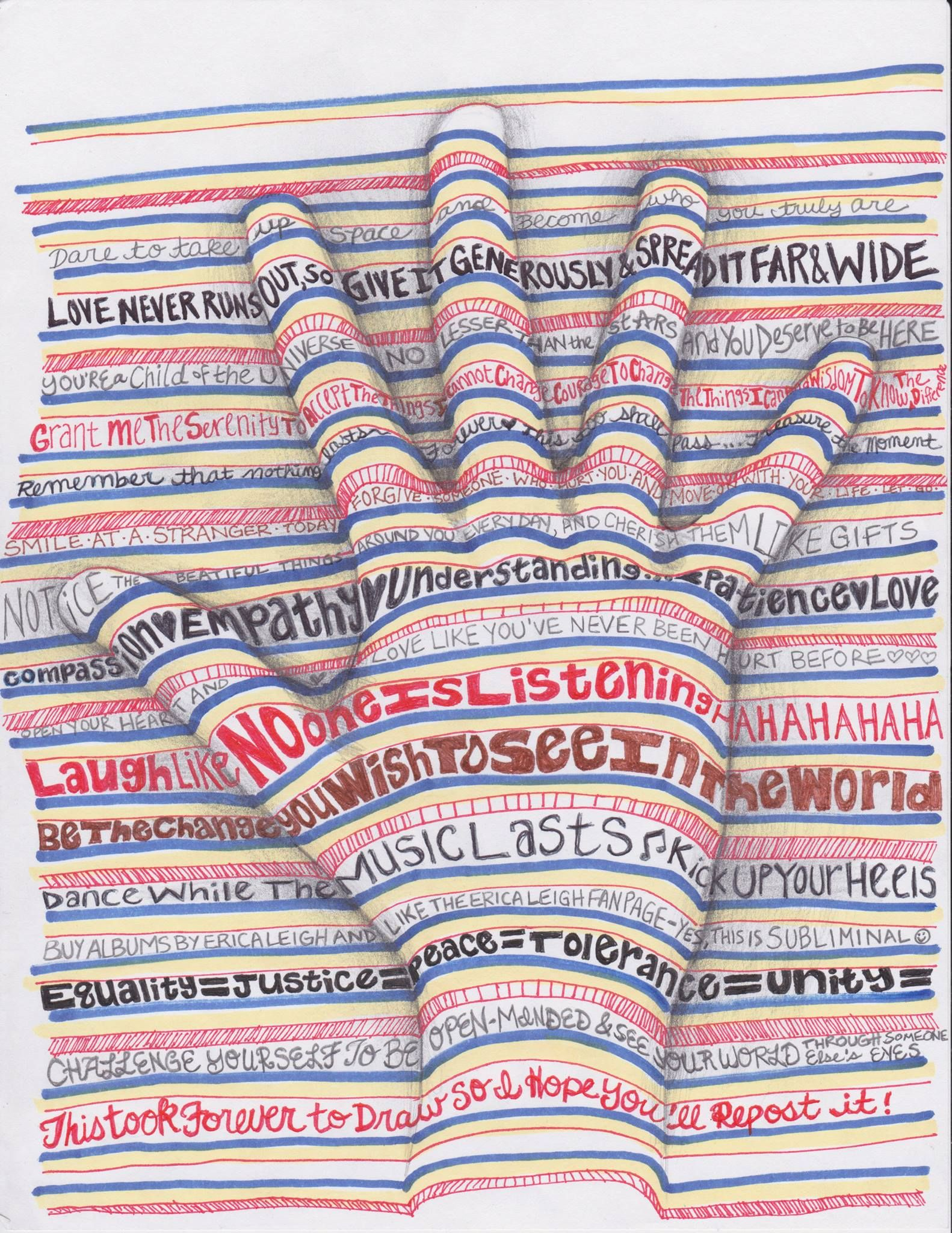 Op art uses color to create - This Doodle Gives The Simple Idea Of Tracing Your Hand A Whole New Meaning Look Closely At All Of The Inspiring Quotes Inside A New Spin On Op Art