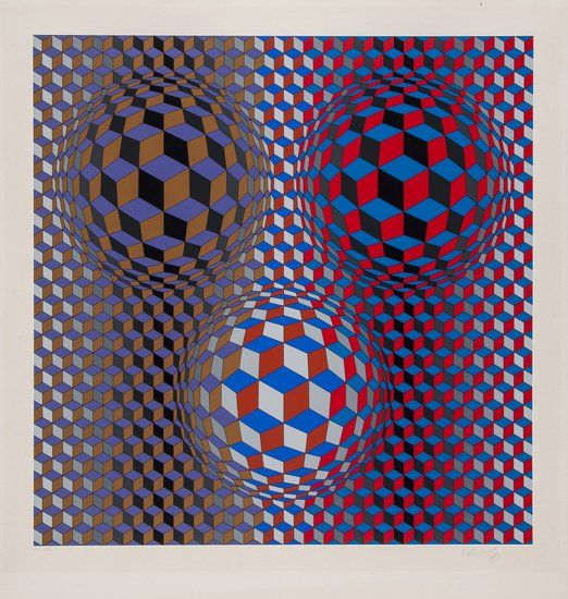 Victor Vasarely (1906-1997) Untitled screenprint in colours, signed in pencil, inscribed F.V.P.14/20, on wove paper, with full margins, 695 x 685 mm (27 3/8 x 27 in)