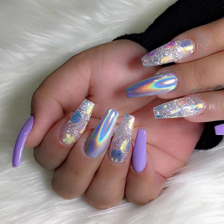 Lovely Nails By Sinhtran2501 Shop For Featured Holographic Unicorn Powder Opalescent Glass Film Paper