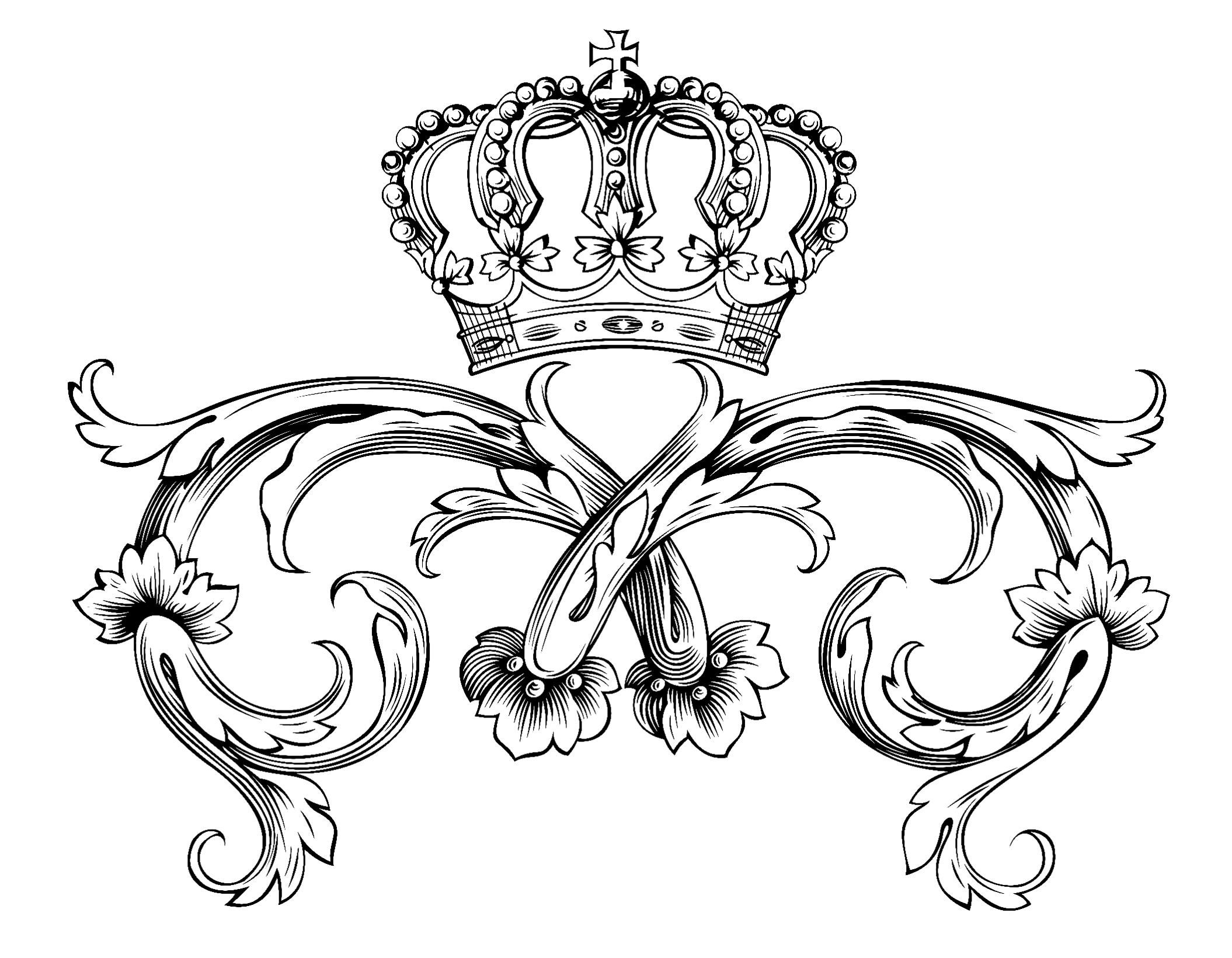 Free coloring page coloring adult symbol royal crown by dl1on