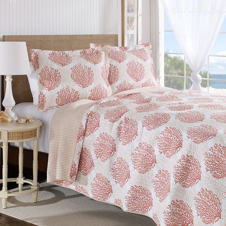 Laura Ashley Coral Coast Coral Quilt Set From Beddingstyle Com Nautical Bedding Sets Coral Quilt Bedding Sets