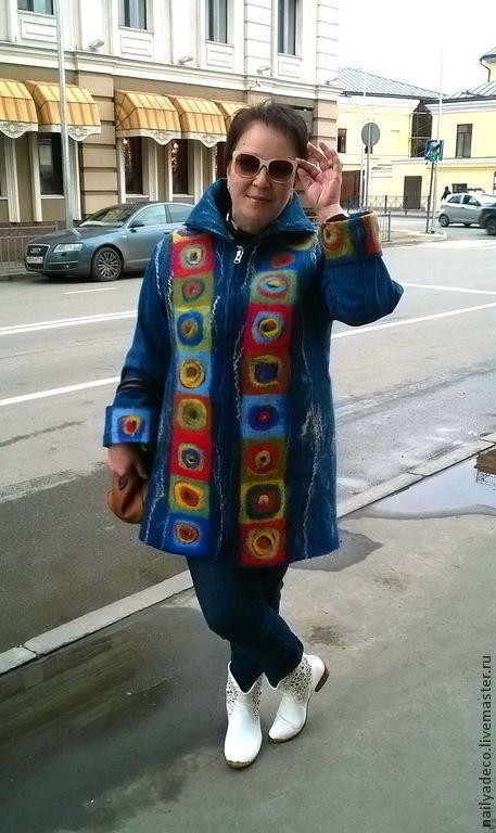 """Купить Пальто валяное """"Круги в квадрате"""" - пальто женское, пальто из шерсти, Пальто ручной работы"""