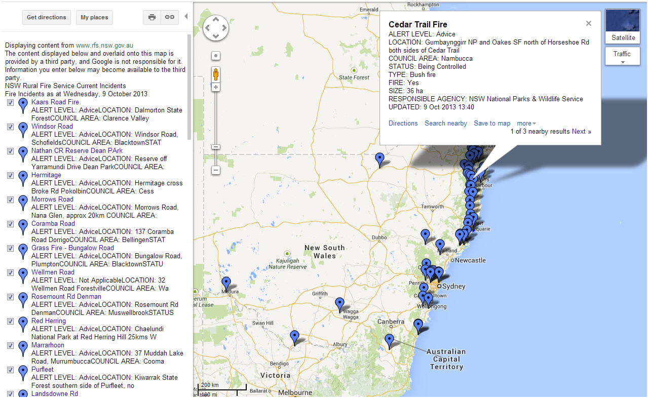 Google Map: Current Rural Fire Service in New South Wales, Australia ...