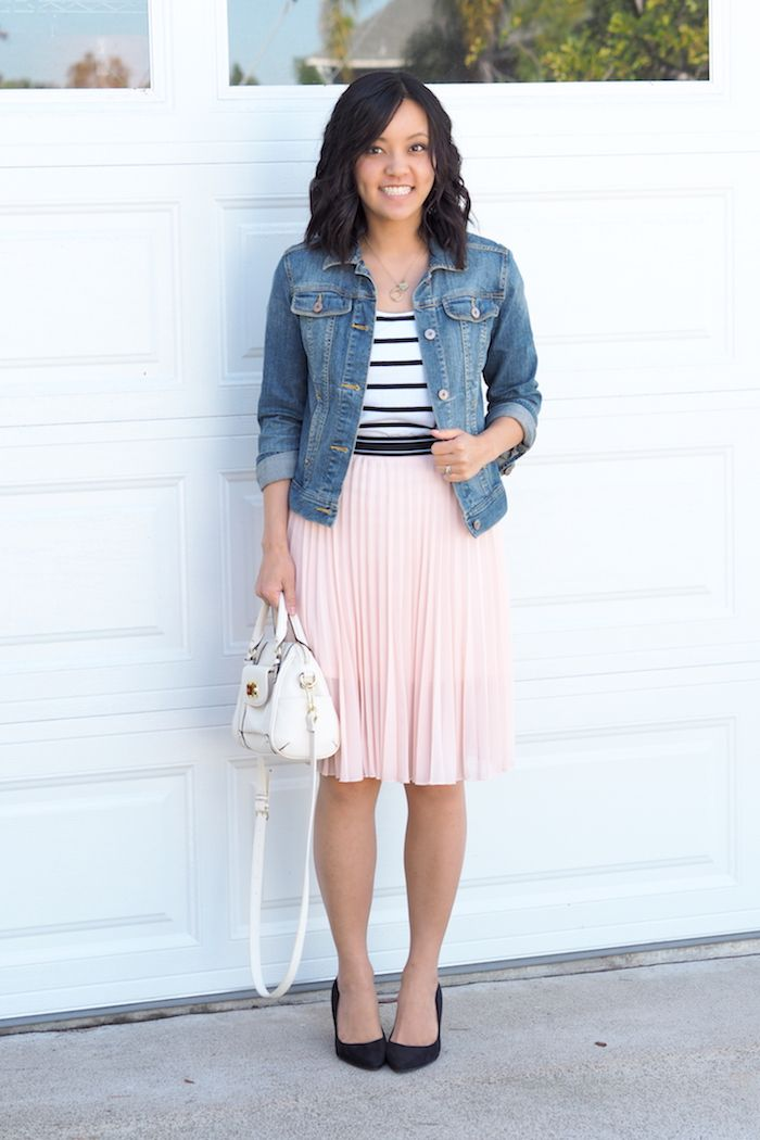 f5f45a372e12 Denim jacket, black pumps, light pink skirt, black and white striped tee