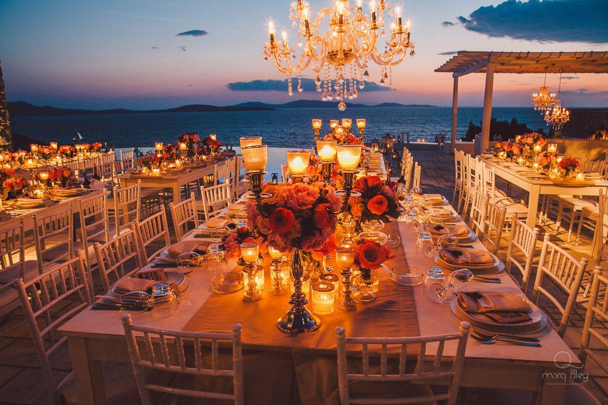 Sunset Opulent Grandeur Private Villa In Mykonos De Plan V Wedding Table Centerpieces Mykonos Wedding Sunset Beach Weddings