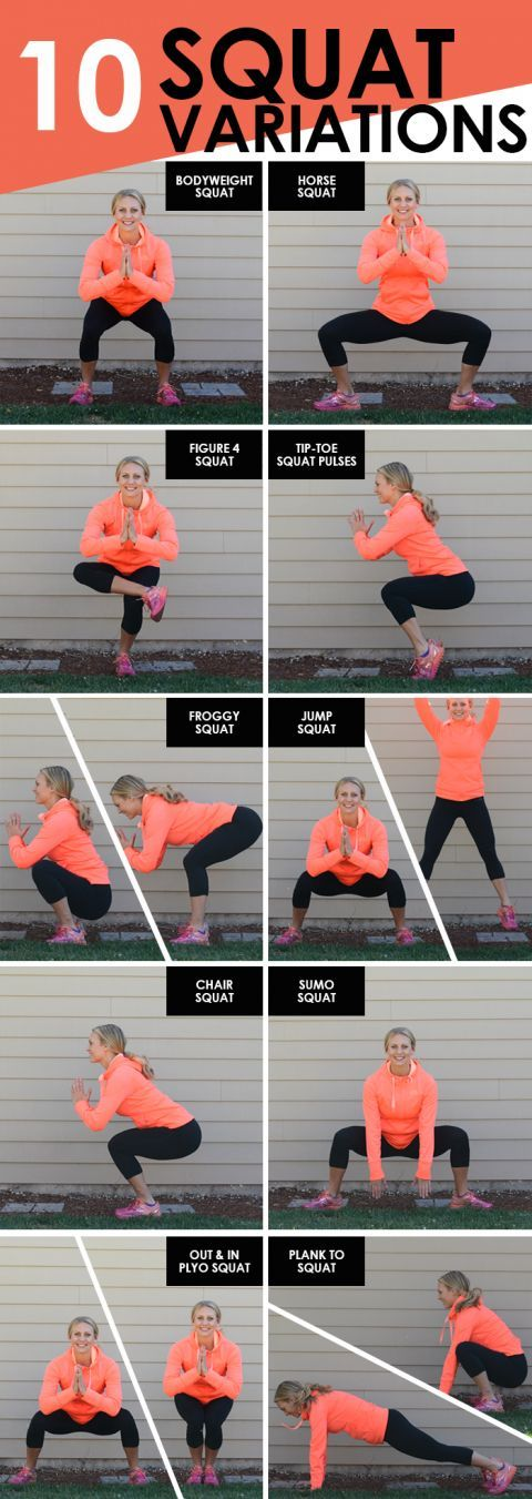 YES to all the squat exercises! Lower body movements are a key foundation of a good fitness program. Great overview of all the different squares you can include in a workout.