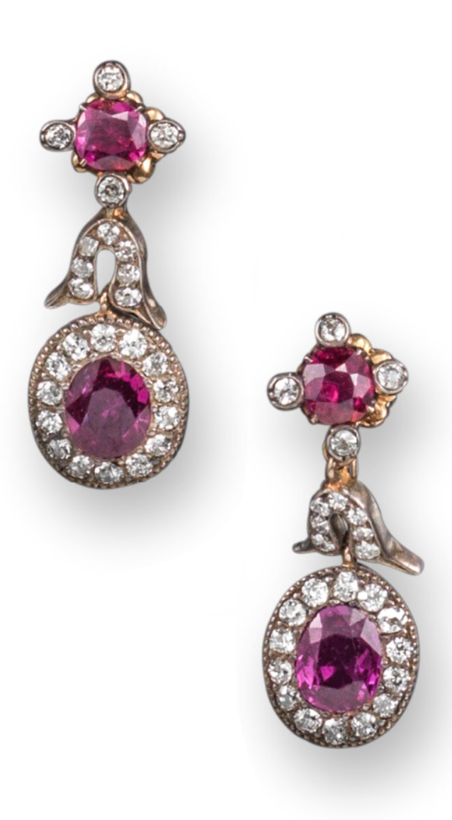 09a2a3aff998fb A pair of antique ruby and diamond cluster earrings, late-19th century. The  upper quatrefoil of ruby and diamonds suspending an articulating section ...