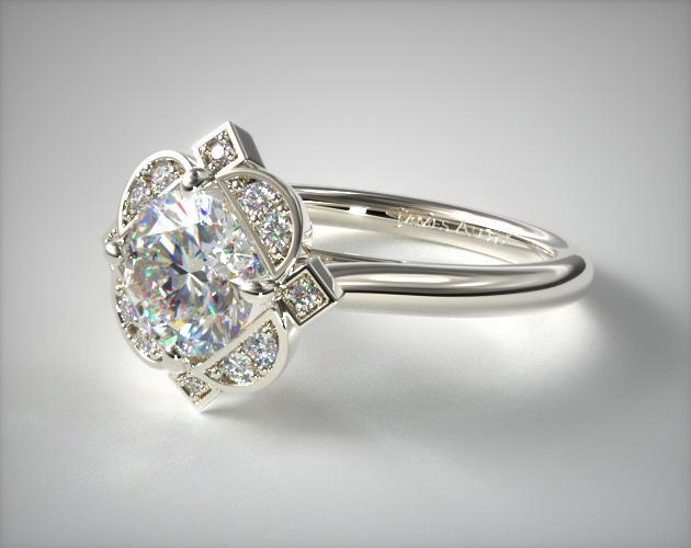 Engagement Rings Halo 14k White Gold Art Deco Inspired Floral