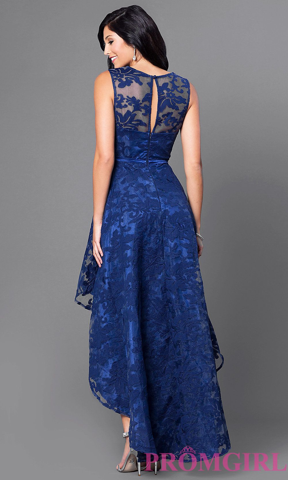 Image Of High Low Lace Sleeveless Semi Formal Dress Back