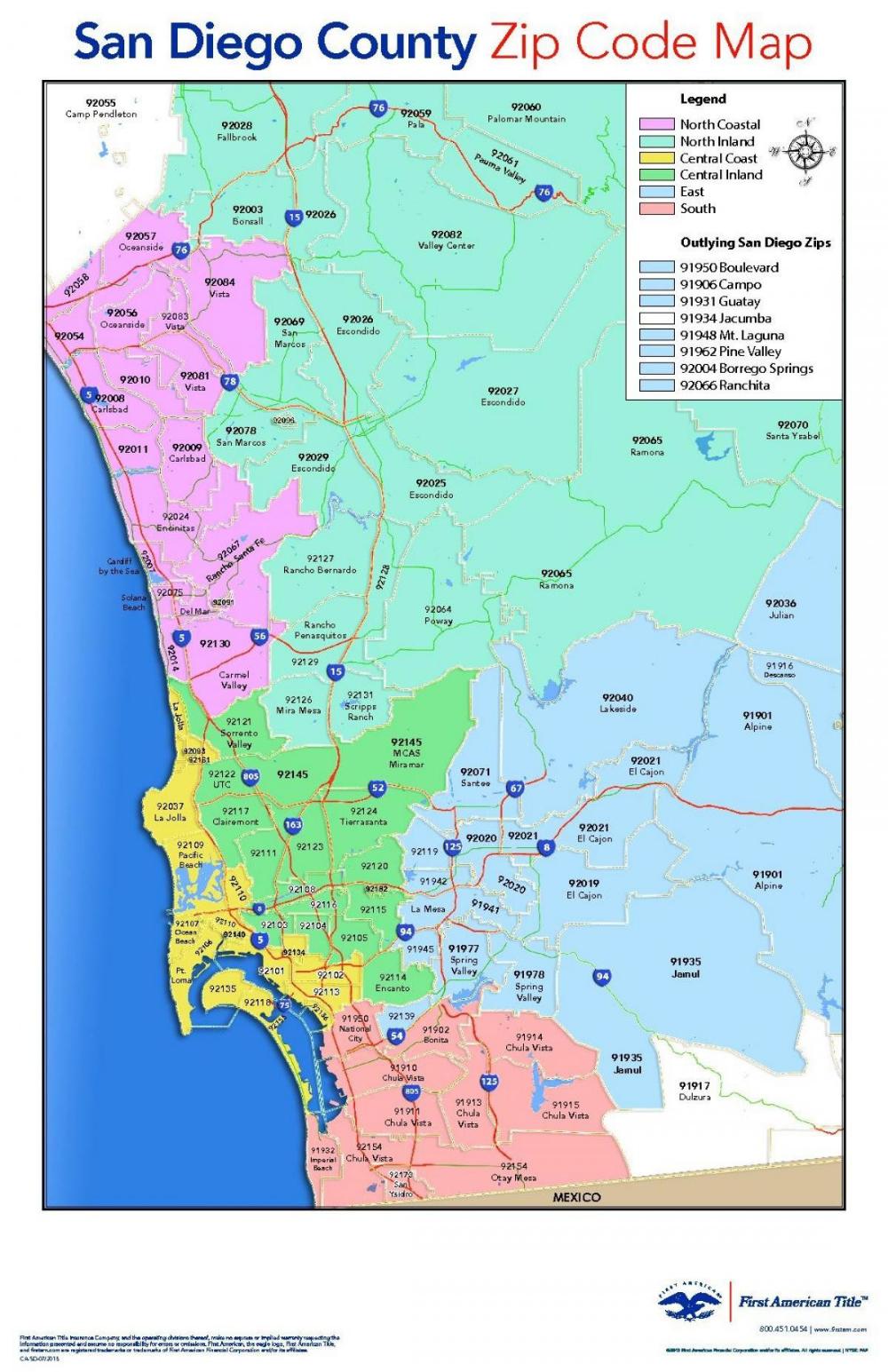 printable map of san diego county San Diego Zip Code Map 7 Zip Code Map Map San Diego