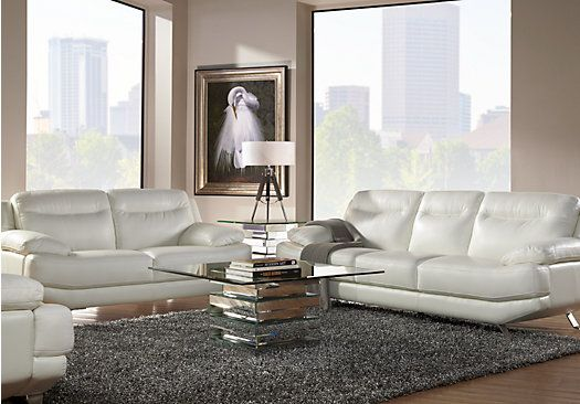 Sofia Vergara Castilla White Leather 2 Pc Living Room ...
