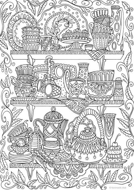 Cups - Printable Adult Coloring Page from Favoreads (Coloring book ...