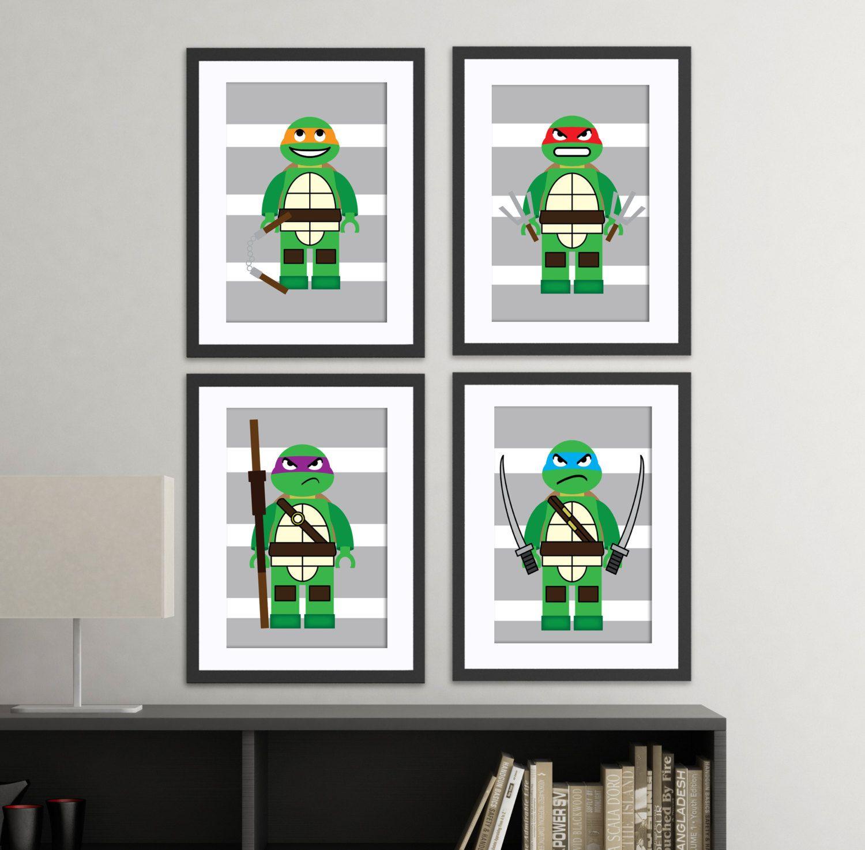 Teenage Mutant Ninja Poster Art Set 6 Posters To Paint For Children NEW