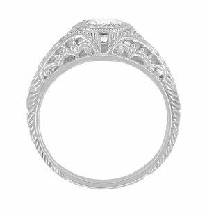 Art Deco Engraved Filigree Diamond Low Profile Engagement Ring in
