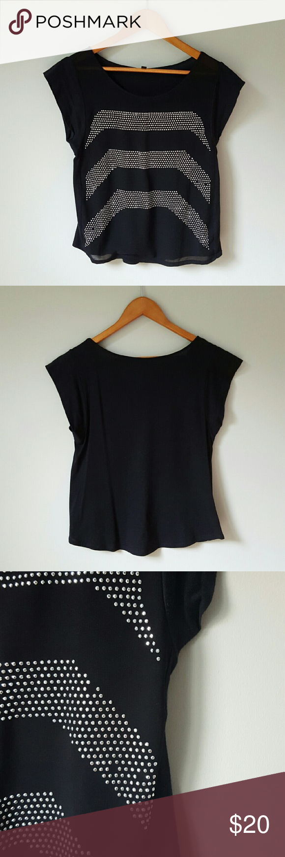 {Express} Black Beaded Top -Front: 100% polyester  -Back: 60% cotton, 40% modal  -Front is chiffon-like fabric with lining underneath  -Back is soft cotton fabric  -A few missing beads as pictured  📷 by @alinasher Express Tops