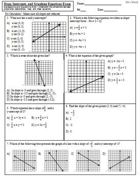 Slope, Intercepts, and Graphing Linear Equations Exam ...