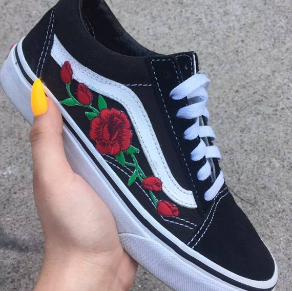 7e4e239584 Red ROSE EMBROIDERED Old Skool Vans Off the Wall Sneakers New w  Box  AUTHENTIC Custom Trendy BeSt Pr