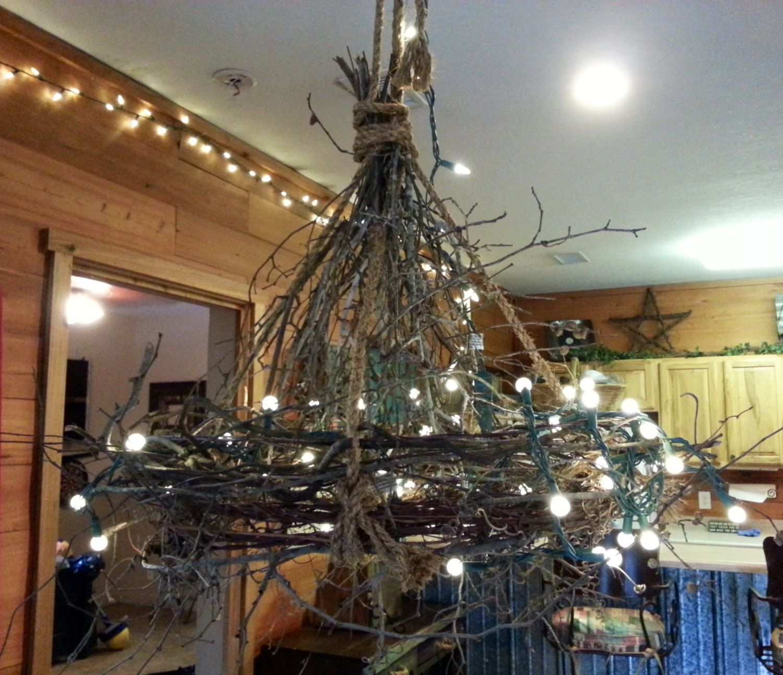 Rustic Handmade Light Fixture, Twig Chandelier, Branch