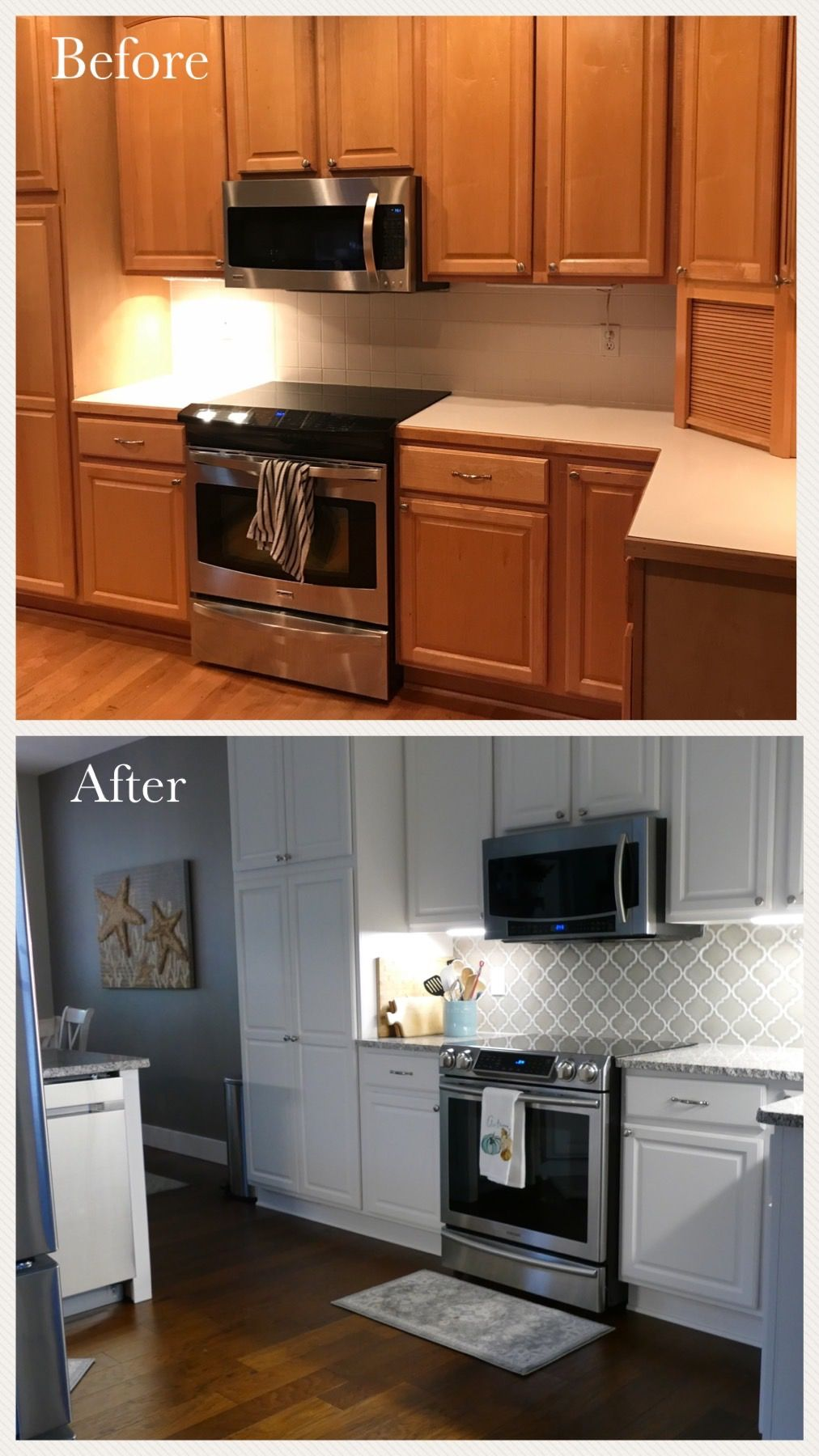 kitchen remodel before after dove gray arabesque backsplash painted white cabinets on kitchen id=16404