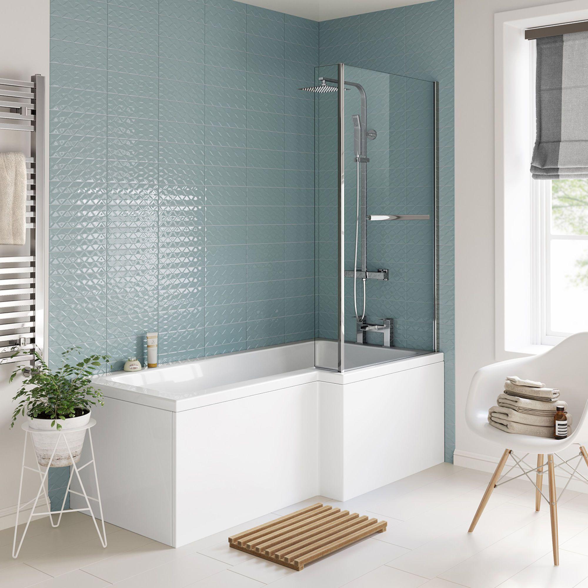 1600mm Right Hand L Shaped Bath With Screen Rail And Panel Soak Com With Images L Shaped Bath Bath Screens L Shaped Bathroom