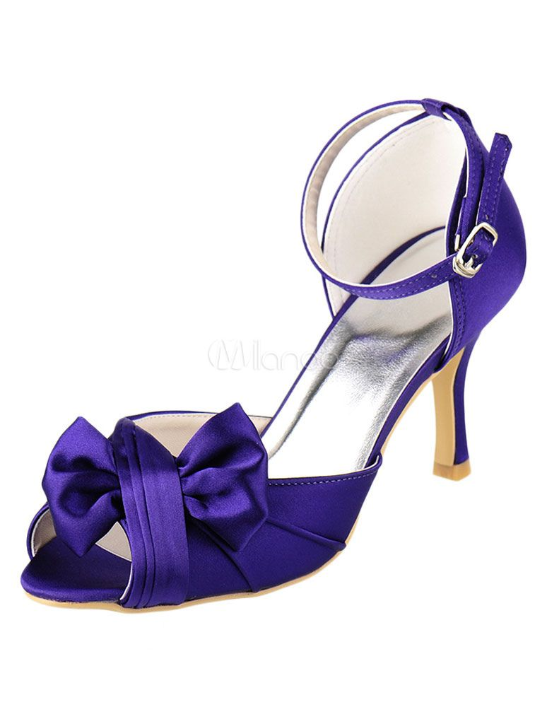 df22a9b7ab6 Peep Bridal Shoes High Heel Purple Satin Ankle Strap Bow Pleated ...
