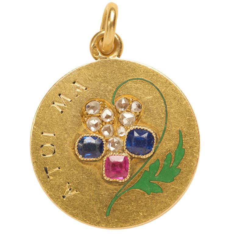 An 18 Carat Gold Art Nouveau Pendant With The Text A Toi Ma Pensée I Think Of You France Circa 1900
